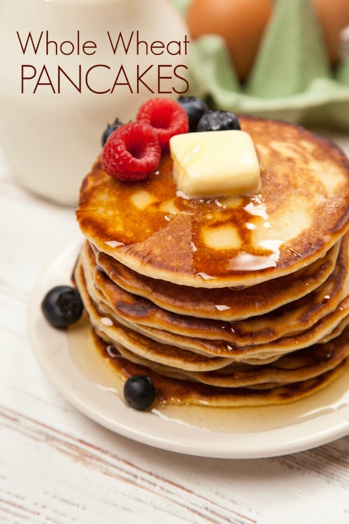 These fluffy whole wheat pancakes are better for you than the box mix ...