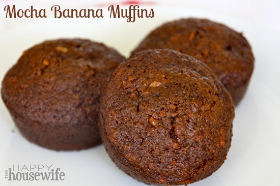 Mocha Banana Muffins (Whole Wheat) at The Happy Housewife