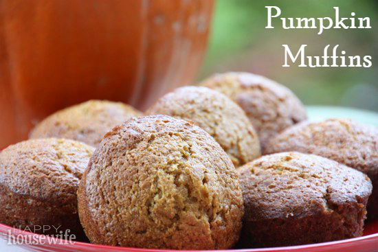 10 Delicious Muffins and Quick Breads (Pumpkin Muffins) at The Happy Housewife