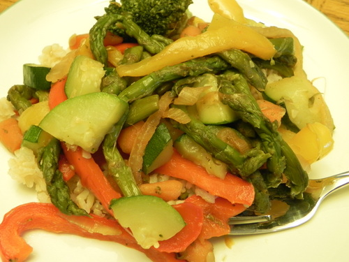 Grilled Stir Fry with Roasted Red Pepper Sauce