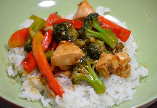 Orange Chicken and Vegetable Stir Fry at The Happy Housewife