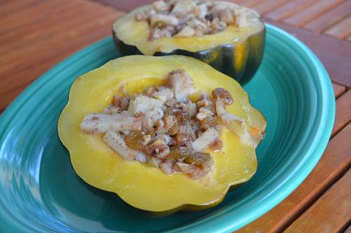 Apple & Walnut Stuffed Acorn Squash at The Happy Housewife