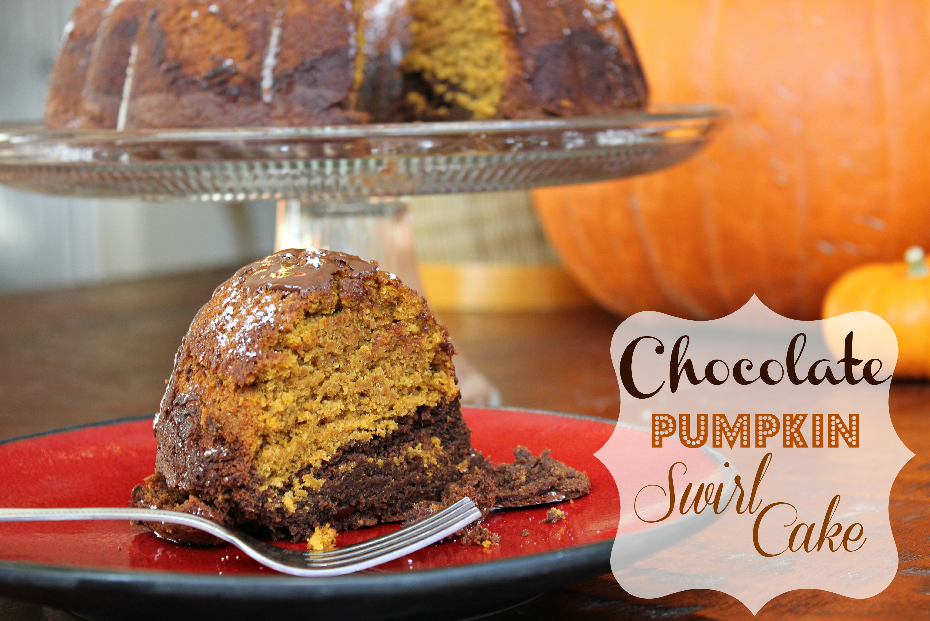 Chocolate Pumpkin Swirl Cake