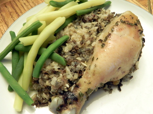 Crock Pot Chicken Legs & Wild Rice at The Happy Housewife