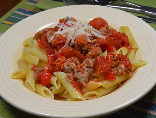 Spicy Sausage & Tomato Pasta at The Happy Housewife