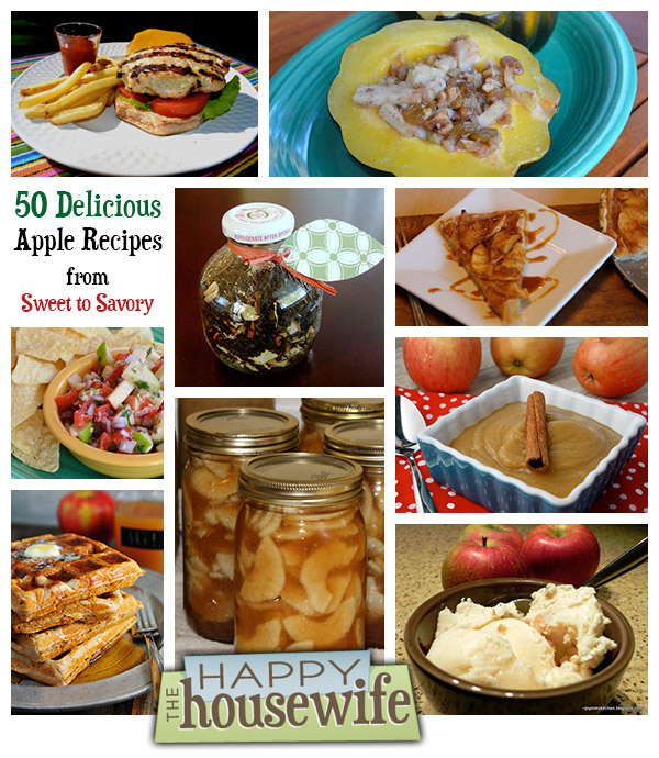 50 Delicious Apple Recipes from Sweet to Savory at The Happy Housewife