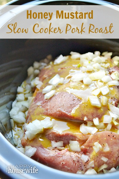 This flavorful honey mustard slow cooker pork roast recipe is easy to make and cooks all day so you have a delicious, moist, and tender dinner ready when you are.