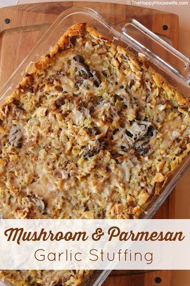 Mushroom & Parmesan Garlic Stuffing at The Happy Housewife