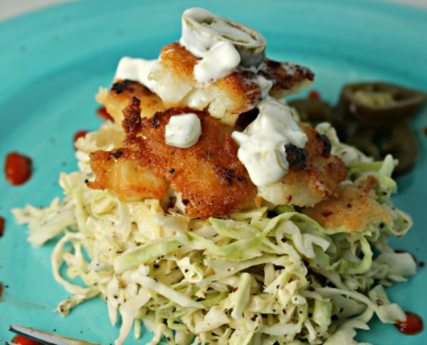 Fish tacos with spicy slaw recipe dishmaps for Fish tacos with coleslaw