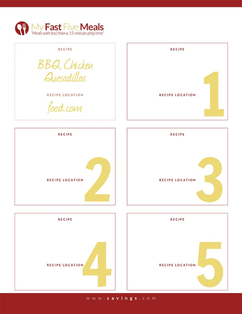 Free Printable: Fast Five Meals from The Happy Housewife