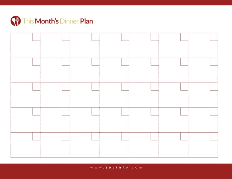 Free Printable: Monthly Dinner Plan from The Happy Housewife
