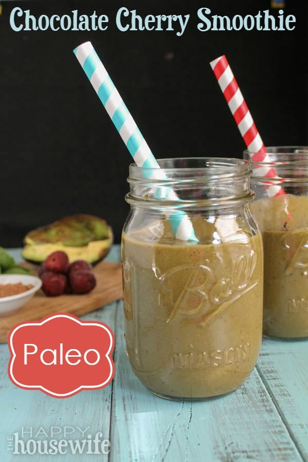 Paleo Chocolate Cherry Smoothie at The Happy Housewife