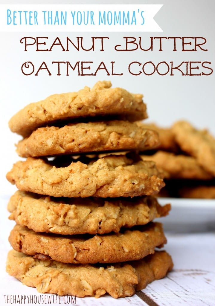 These Peanut Butter Oatmeal Cookies can be made with whole grain flour. With oats and protein-packed peanut butter, one cookie can satisfy a craving. Found at The Happy Housewife