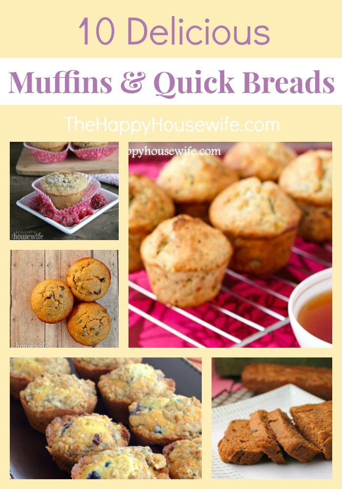 10 Delicious muffins and quick breads that are perfect for breakfast or after school snacking. Found at The Happy Housewife.