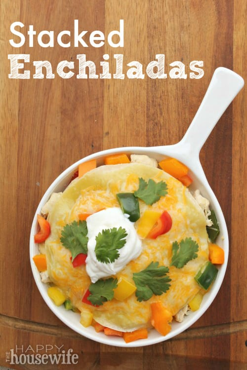 From the cheese to the chicken, from the sauce to the onions, stacked enchiladas bring a taste of the border to the table on any busy weeknight. Found at The Happy Housewife