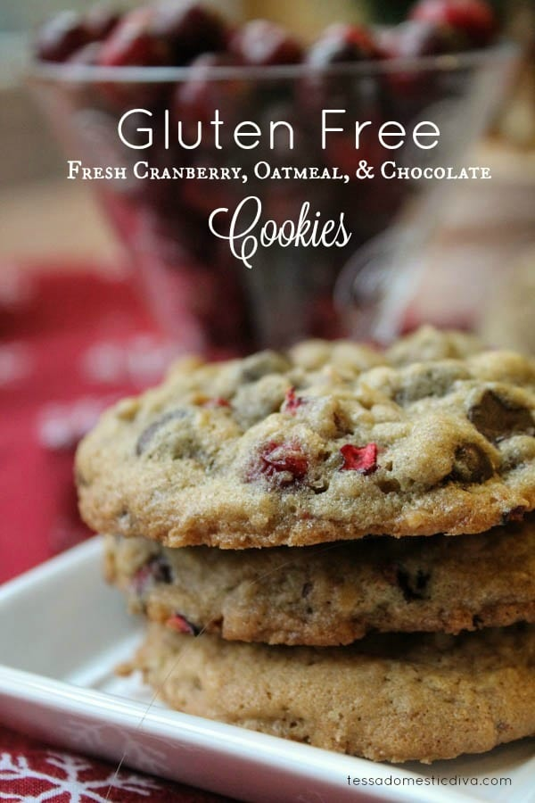 These Gluten-Free Chocolate Cranberry Cookies use fresh cranberries, allowing you to get their vibrant color and tart glory! | The Happy Housewife