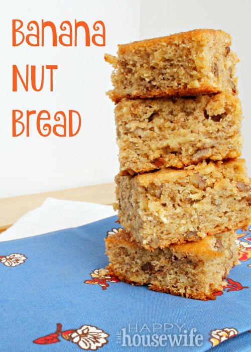 This quick and easy banana nut bread recipe is loaded with flavor and perfect for breakfast or an after school snack. The kids will love this sweet treat.