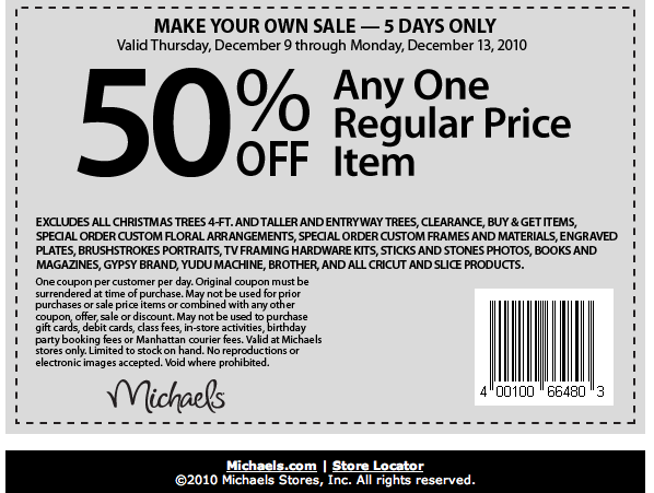 Michaels Stores 50% off Coupon: One Item - The Happy ...
