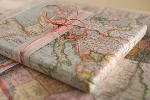 map gift wrap Frugal Gift Wrapping Ideas