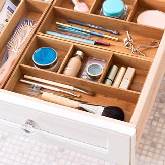 Cosmetics Organizer from a Repurposed Silverware Tray - The Happy ...