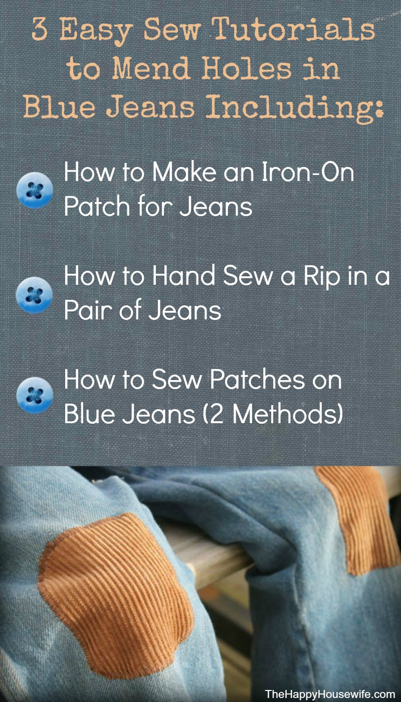 3 Easy Sew Tutorials for How to Mend Holes in Blue Jeans from The Happy Housewife