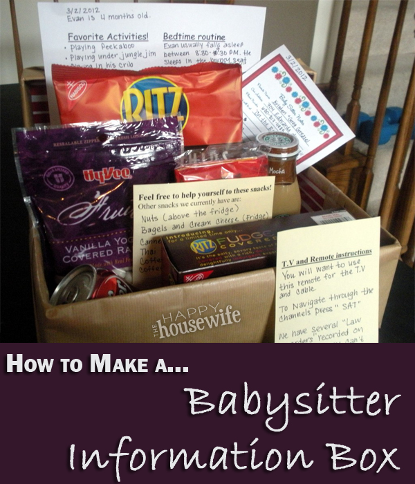 Babysitter Information Box The Happy Housewife Home Management – Another Word for Babysitter