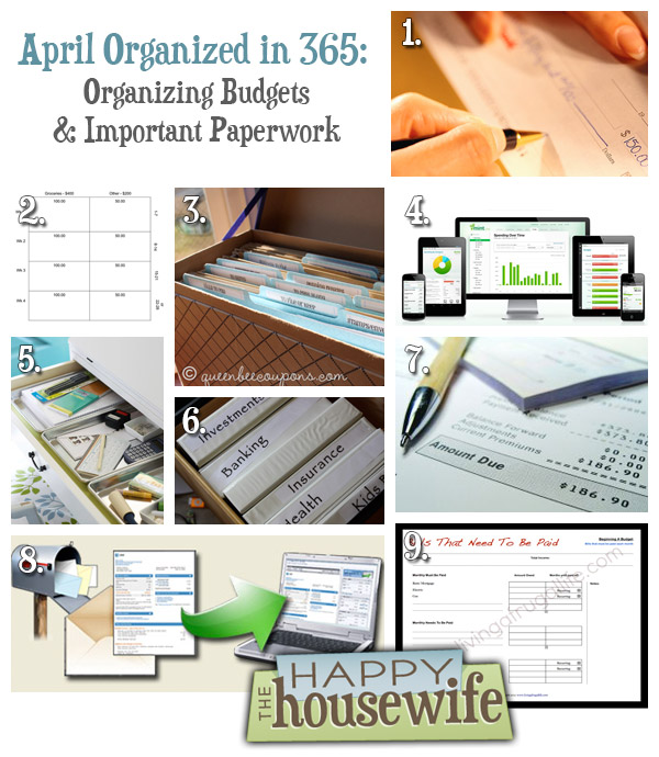 april organized in 365 organizing budgets important paperwork the happy housewife home. Black Bedroom Furniture Sets. Home Design Ideas