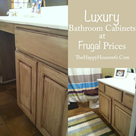Frugal Bathroom Cabinet Makeover at The Happy Housewife