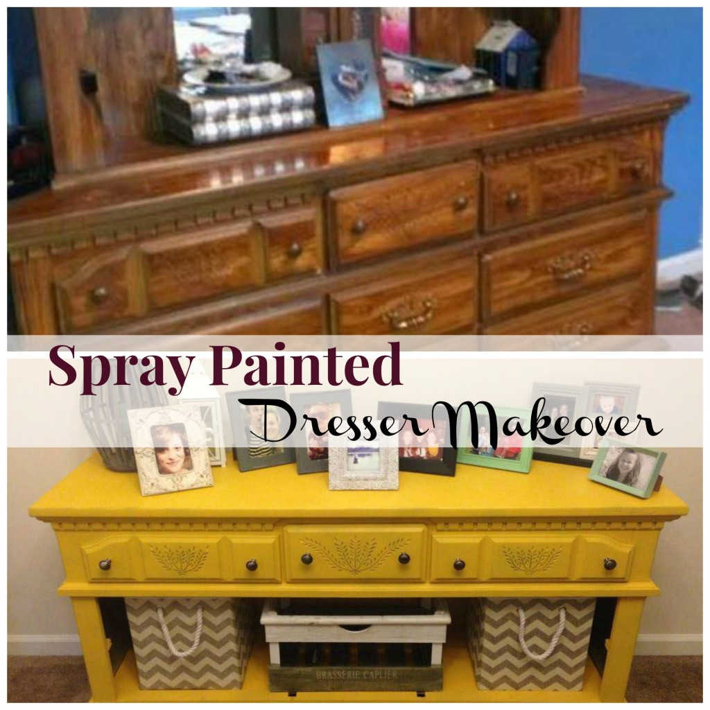 you can spray paint furniture! Looks great and easy to do.