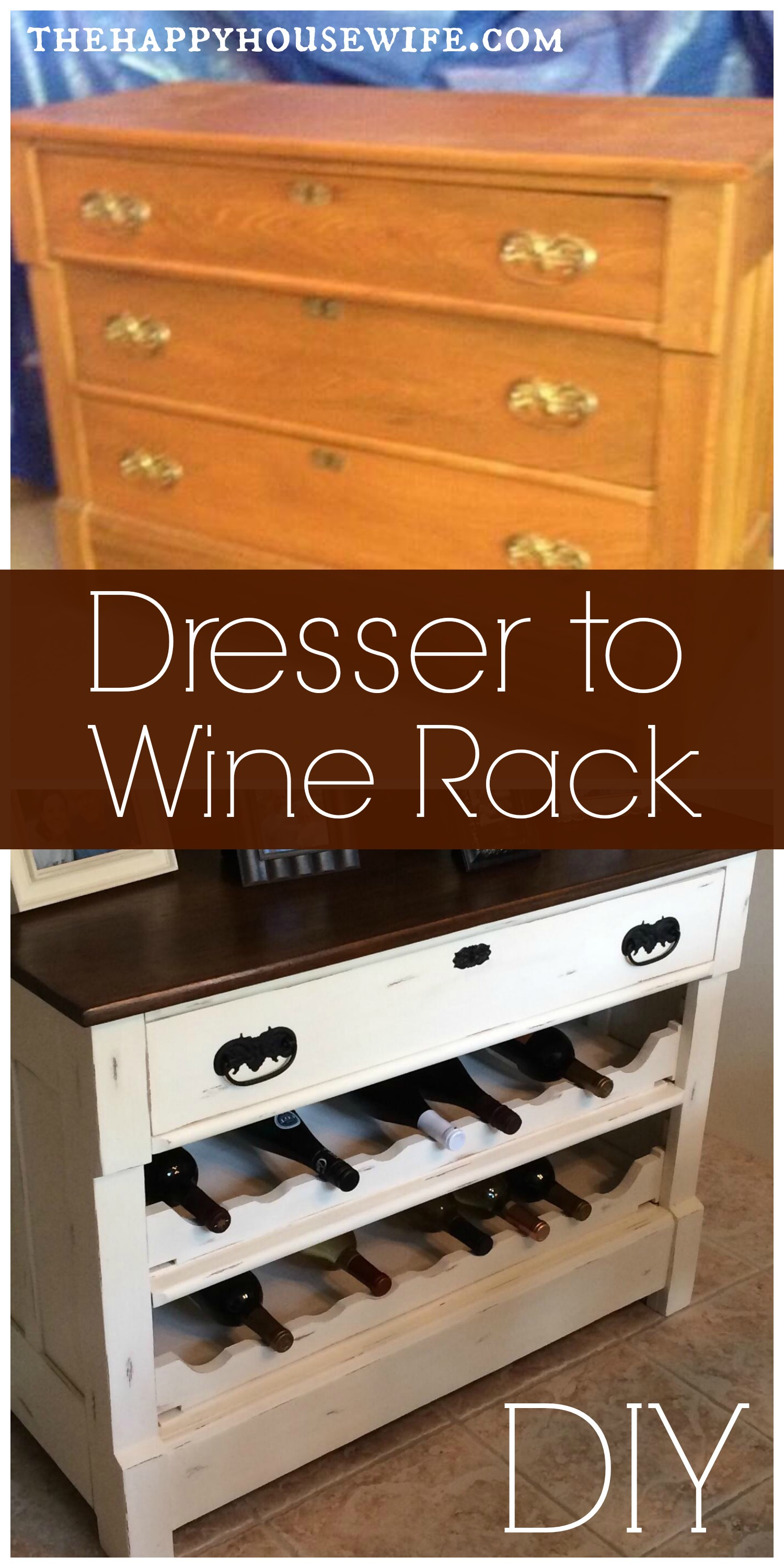 Dresser to Wine Rack DIY - The Happy Housewife™ :: Home Management