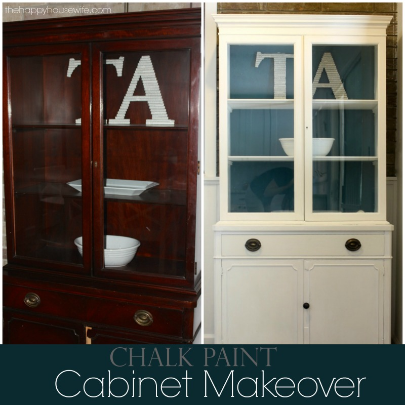 Dark Blue Chalk Paint Kitchen Cabinets: DIY Hutch Chalk Paint Makeover