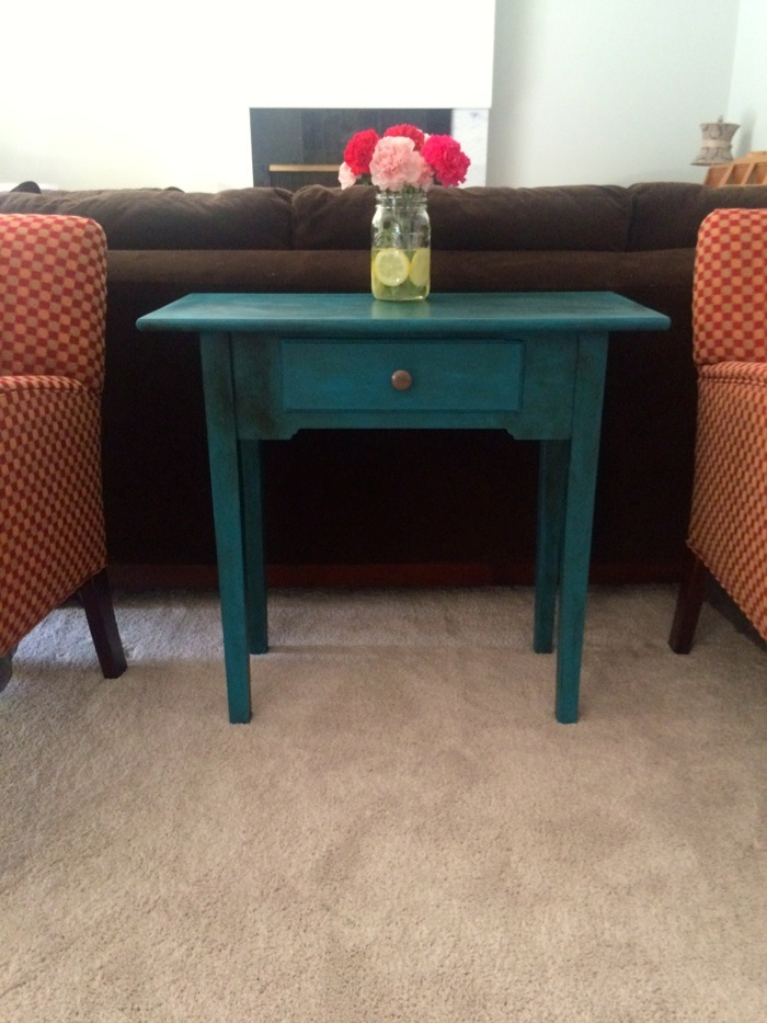 Valspar chalky finish paint shown in Sunday Bustle with a coat of dark wax.