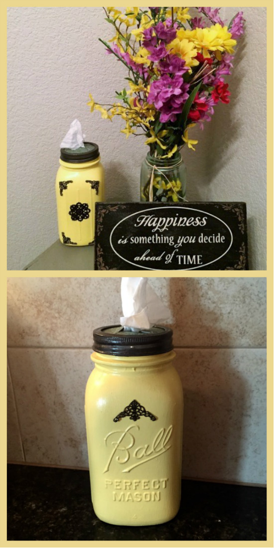 This super cute DIY Mason jar tissue holder can be customized to go with any decor in your house. No more trying to find a tissue box that matches!
