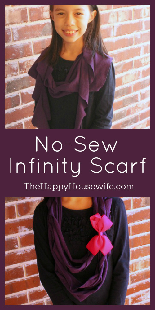 This no-sew infinity scarf is fast, easy, and requires no special skills or supplies. It would be a super homemade gift from your elementary students.  At The Happy Housewife