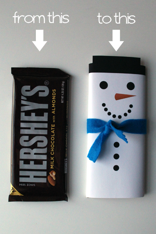 For a quick and easy last minute gift that everyone likes, turn a chocolate bar into a cute snowman. 100 Days of Homemade Christmas Gifts at The Happy Housewife