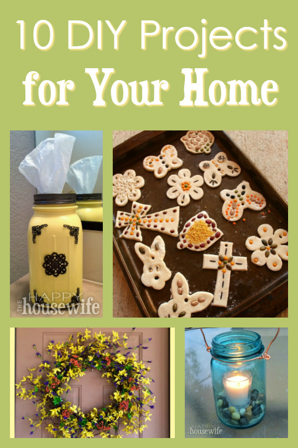 These DIY projects for your home are not overly complicated and many of them will help you to re-purpose things you already have on hand like old t-shirts and Mason jars.