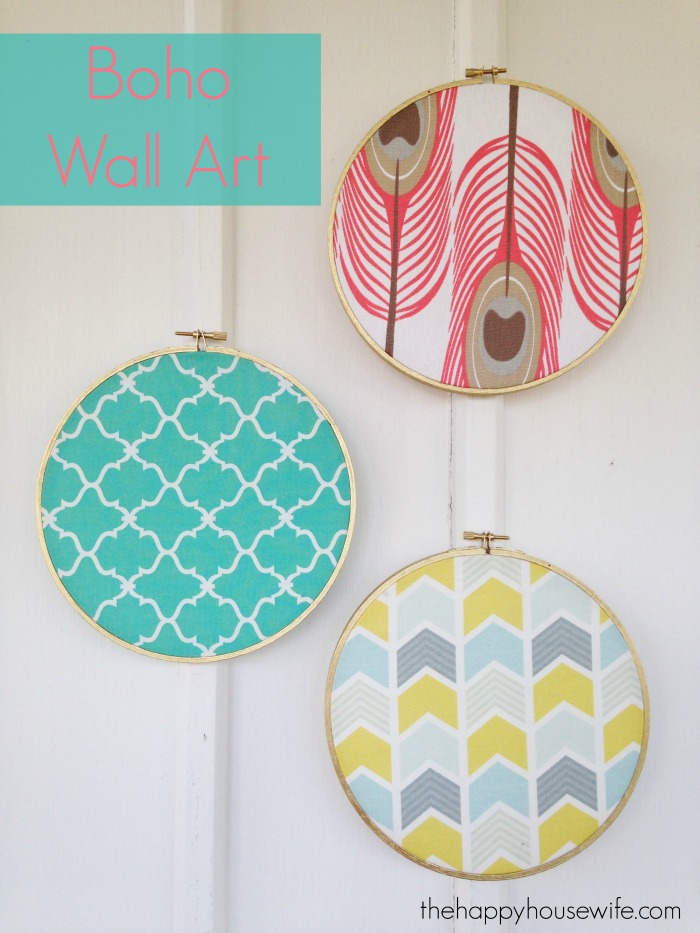 With just a few supplies you can easily make this DIY Boho Fabric Wall Art. And when you want a new look, changing the wall art is as easy as substituting the fabric with a new piece.