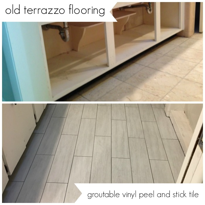 groutable vinyl tile can update a bathroom