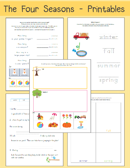 Four Seasons Worksheets Free Printables The Happy Housewife – Season Worksheets for Kindergarten