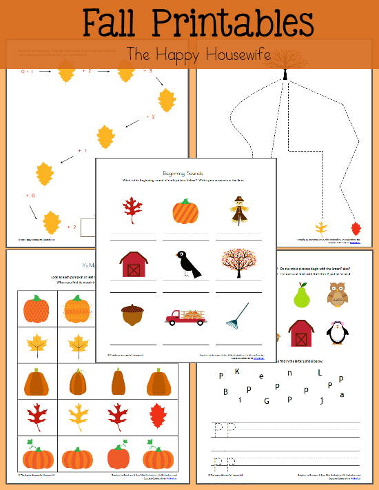 Fall Themed Worksheets Free Printables The Happy Housewife – Fall Worksheets for Preschool