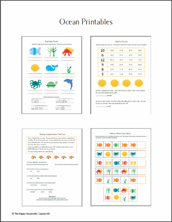 Ocean Unit Study Worksheets and Printables The Happy Housewife – Ocean Worksheets