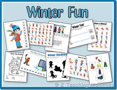 winter preschool printables