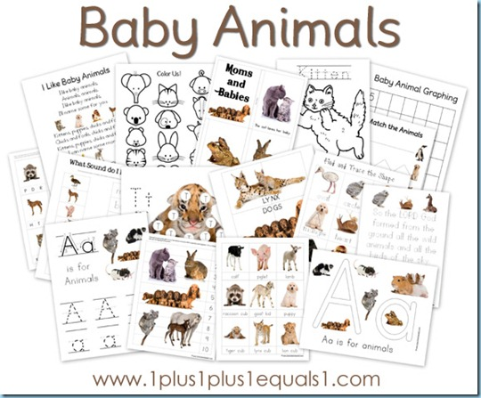 preschool worksheets baby animals the happy housewife home schooling. Black Bedroom Furniture Sets. Home Design Ideas