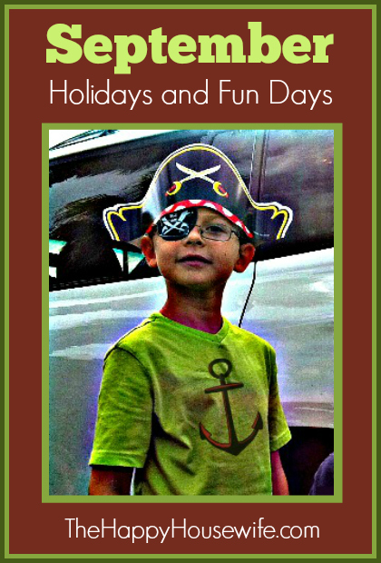 September Holidays and Fun Days at The Happy Housewife