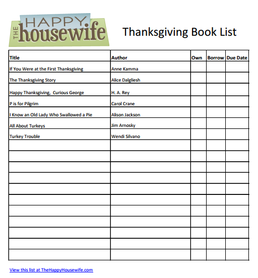 Free Printable Thanksgiving Books For Kids Thanksgiving Book List Free