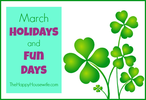 Try these activities for March Holidays and Fun Days to help break the monotony and add excitement, interest, and learning to your homeschool day.