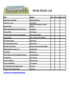 Birds Book List: Free Printable Friday | The Happy Housewife