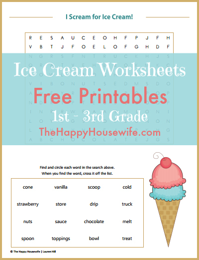Ice Cream Worksheets: Free Printables at The Happy Housewife