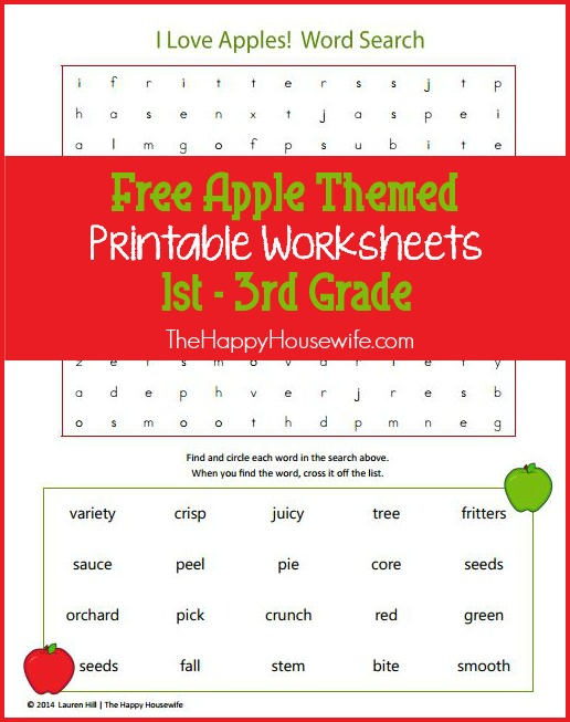 Apple Themed Worksheets: Free Printables at The Happy Housewife