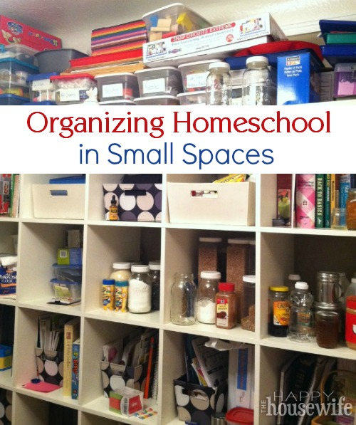 Organizing Homeschool in Small Spaces at The Happy Housewife